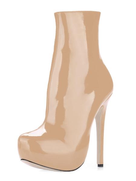 Milanoo Black Sexy Boots Women Platform Almond Toe Zip Up  High Heel Booties
