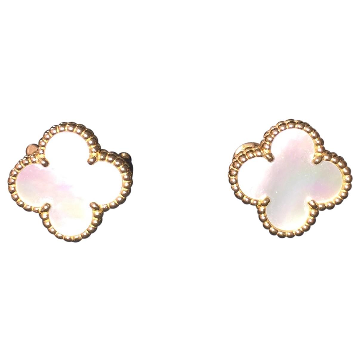 Van Cleef & Arpels - Boucles doreilles Magic Alhambra pour femme en or jaune - blanc