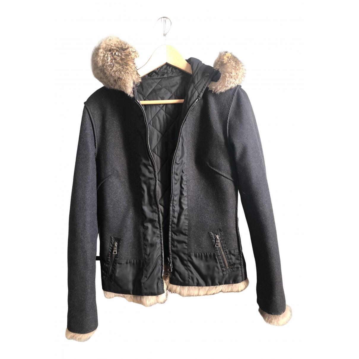 Prada - Manteau   pour femme en renard - anthracite
