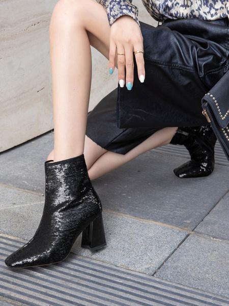 Milanoo Botines de mujer con lentejuelas negras, punta cuadrada, tacon grueso, botines de mujer