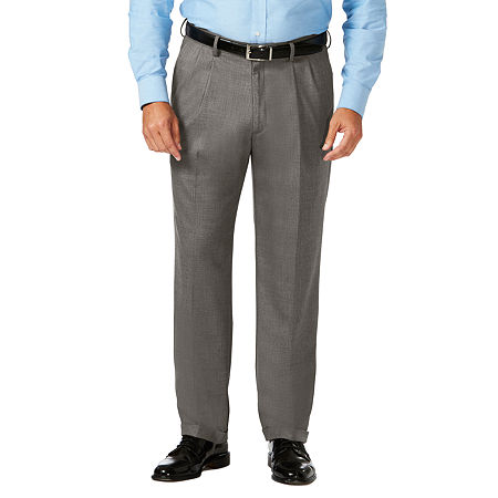 JM Haggar Classic Fit Pleated Dress Pant - Big and Tall, 46 34, Gray