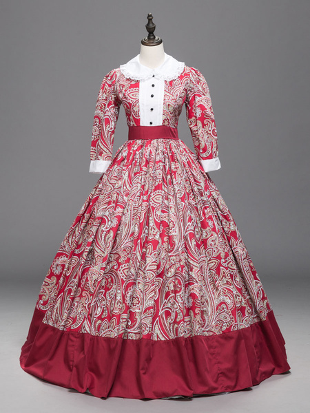 Milanoo Victorian Dress Costumes Red Floral Print Lace Trim half Sleeves Marie Antoinette Costume Dress Vintage Party Prom Dress