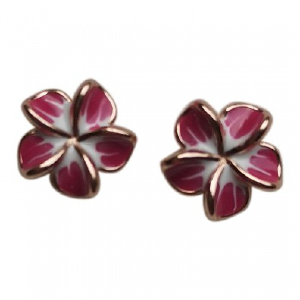 - Boucles doreilles Motifs Floraux pour femme en argent - rose