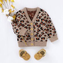 Toddler Girls Leopard Button Front Cardigan