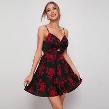 Cami Kleid mit Twist vorn, Ausschnitt, Band hinten und komplettem Muster
