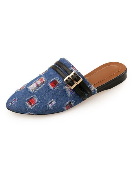 Milanoo Women Mules Shoes Denim Round Toe Buckle Detail Backless Flat Shoes Light Blue Mule Shoes