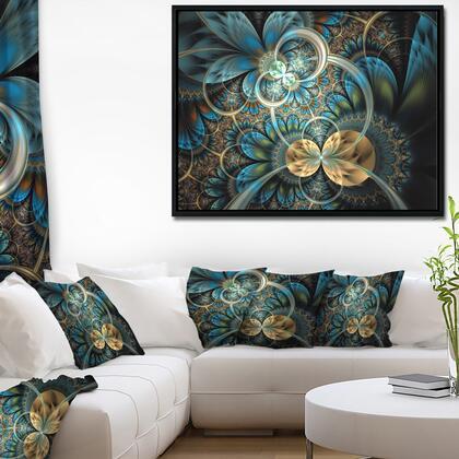 FL7277-42-32-FLB Symmetrical Blue Gold Fractal Flower - Abstract Print On Framed Canvas -