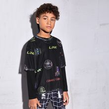 Boys Letter & Graphic Print Mesh Overlay Tee