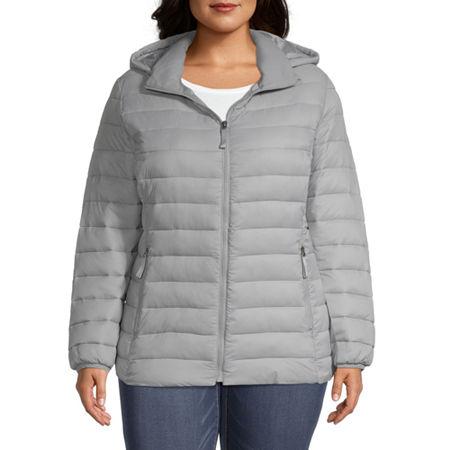 St. John's Bay Hooded Packable Lightweight Puffer Jacket-Plus, 3x , Silver