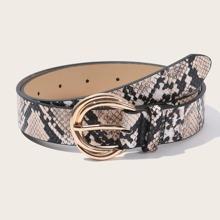 Cinturon con estampado de piel de serpiente