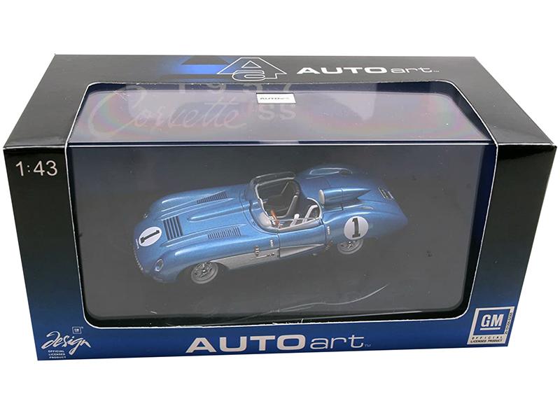 1957 Chevrolet Corvette SS 1 Blue Metallic 1/43 Diecast Model Car by Autoart