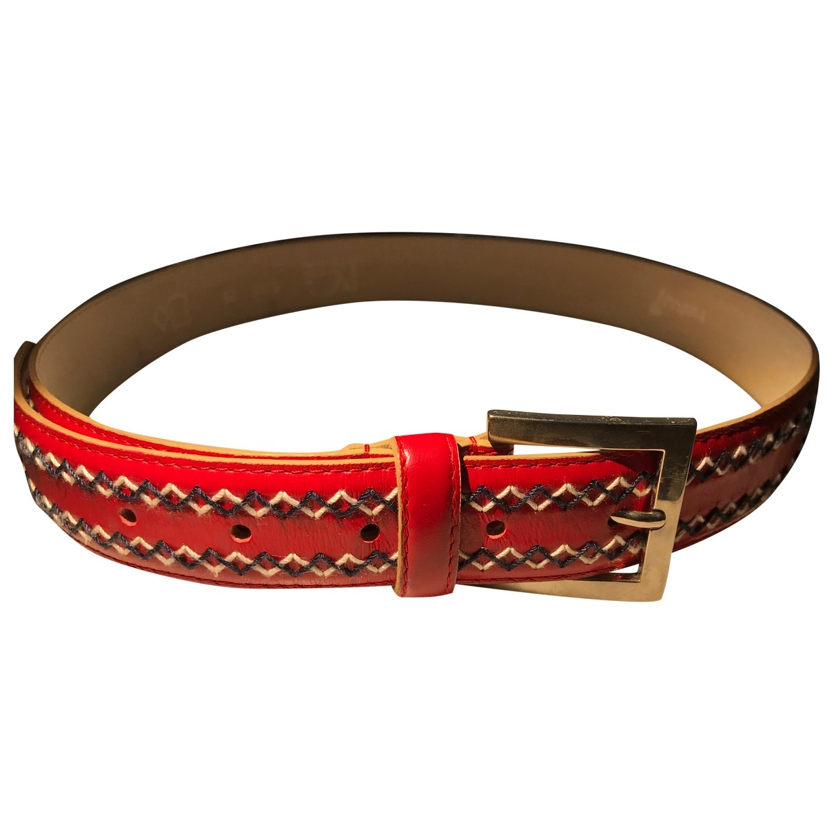 Non Signé / Unsigned \N Red Leather belt for Women XS International