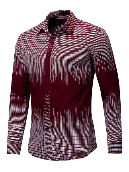 Milanoo Men\s Regular Fit 100% Cotton Artwork Shirt In Burgundy