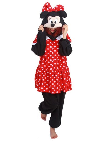 Milanoo Kigurumi Pajamas Mickey Mouse Onesie Red Flannel Winter Sleepwear For Adults Animal Costume Halloween