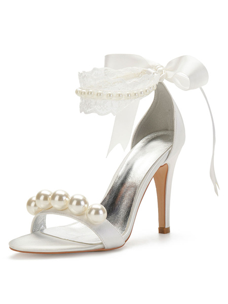Milanoo Wedding Shoes White Satin Pearls Round Toe Stiletto Heel Bridal Shoes