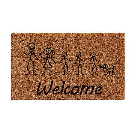 Stick Family Rectangular Outdoor Doormat, One Size , White