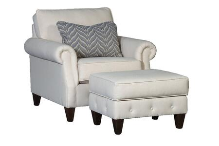 Ice Collection 394040F40-50-GR-DO Accent Chair and Ottoman with Decorative Pillow  Rolled Arms  Tapered Feet  Button Tufting  Piped Stitching  Fabric