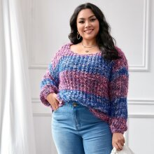 Jersey tejido grueso de color combinado