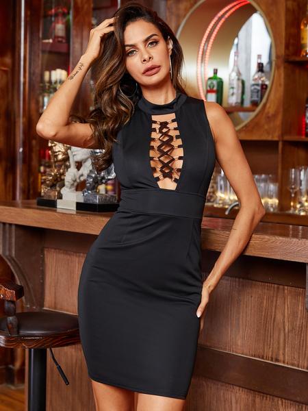 YOINS Lace-Up Design Halter Sleeveless Dress