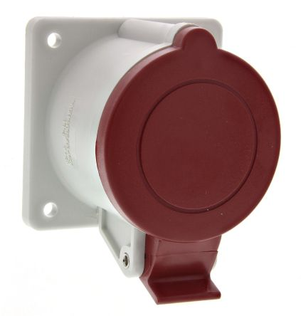 RS PRO IP44 Red Panel Mount 3P+E Industrial Power Socket, Rated At 32.0A, 415.0 V