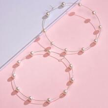 1 par pendientes de aro con diseño de perla artificial