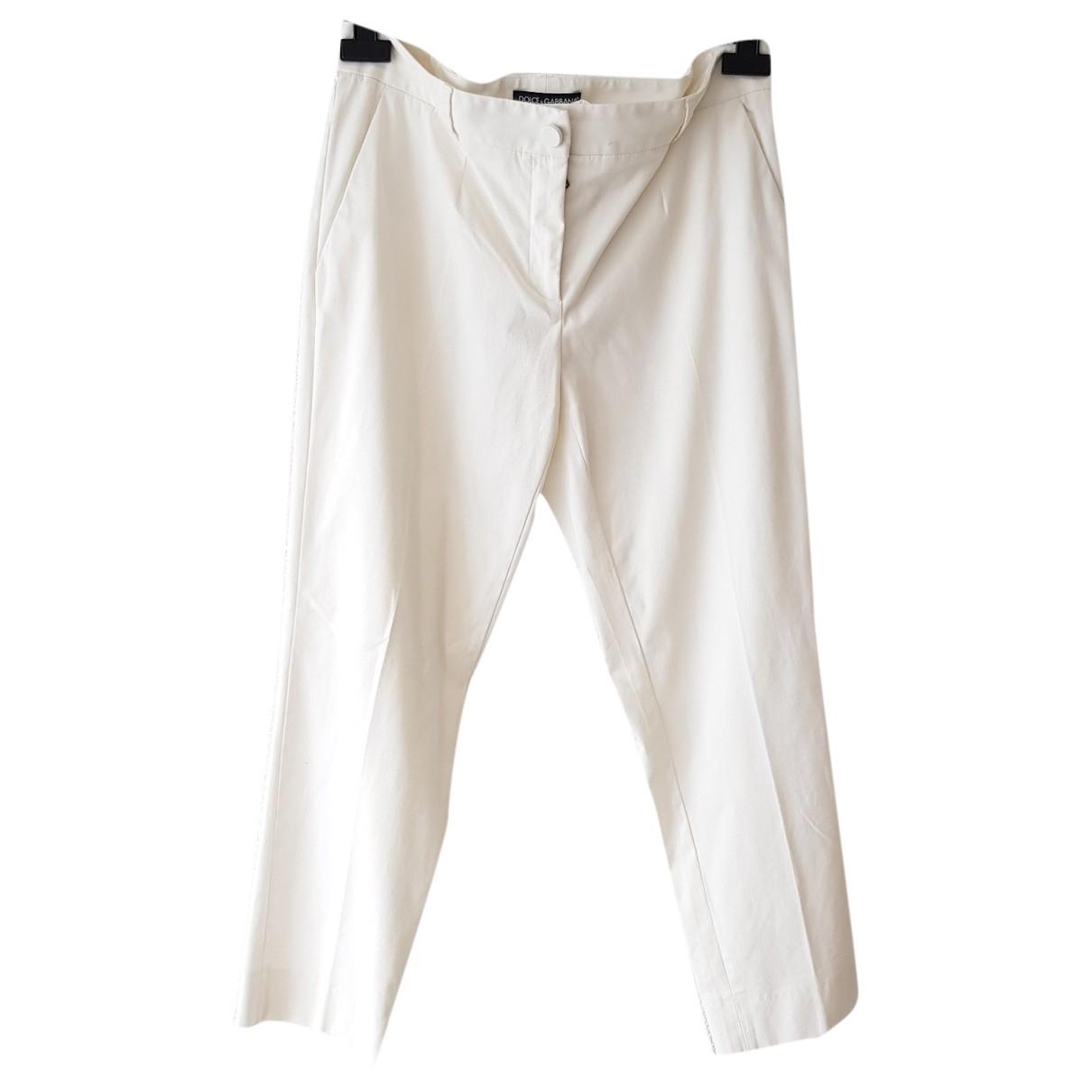 Dolce & Gabbana \N Ecru Cotton Trousers for Women 46 IT