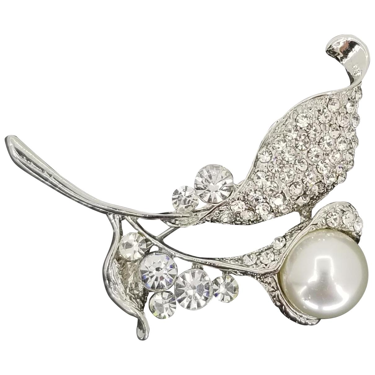 Non Signe / Unsigned Nacre Brosche in  Silber Silber