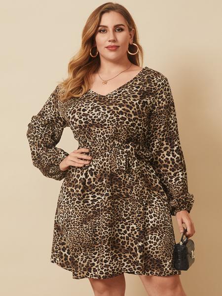 YOINS Plus Size V-neck Leopard Tie-up Design Long Sleeves Mini Dress
