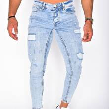 Men Zip Fly Ripped Jeans