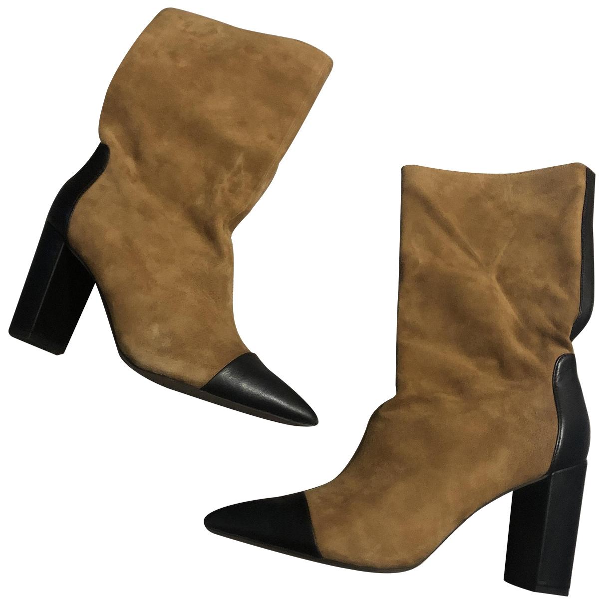 Topshop - Boots   pour femme en cuir - beige