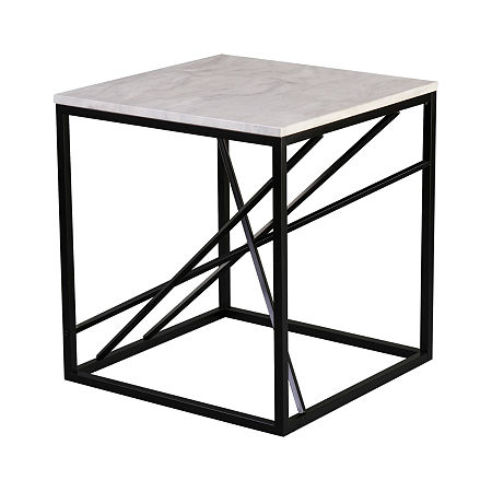 Tracarl Faux Marble End Table, One Size , Black