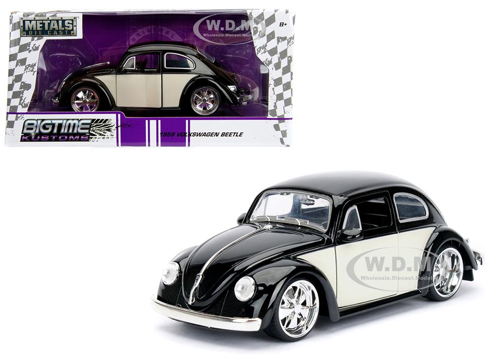 1959 Volkswagen Beetle Black and Cream Bigtime Kustoms 1/24 Diecast Model Car by Jada
