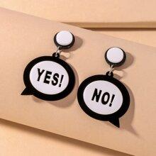 Letter Graphic Drop Earrings