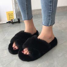 Cross Strap Fluffy Slippers
