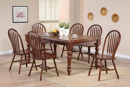 Andrews Collection DLU-SLT4272-820-CT9PC 9 Piece Extension Dining Set with Arrowback