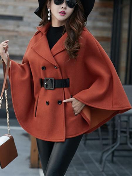 Milanoo Women Poncho Coat Turndown Collar Buttons Woolen Cape Coat