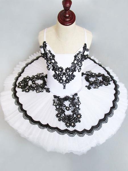 Milanoo Disfraz Halloween Vestido de bailarina Gilrs Latin Dance Costume Vestido de encaje plisado para niños Tutu Dancing Dresses Carnaval Halloween