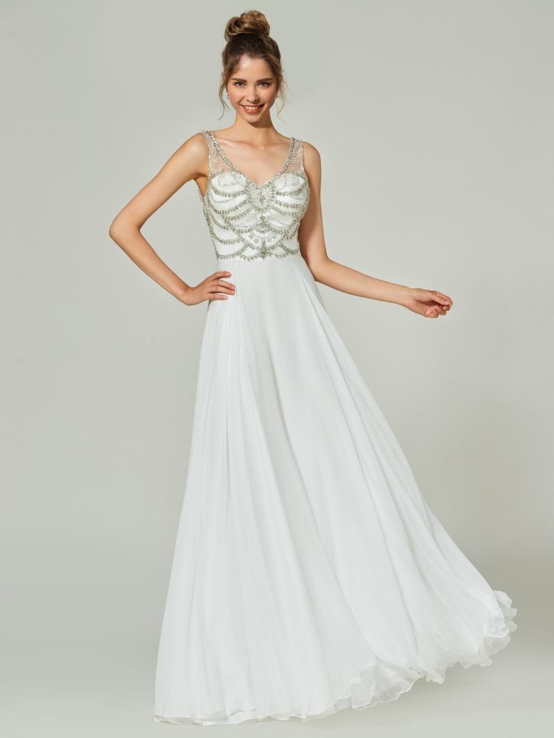 Ericdress A-Line Beading Button V-Neck Floor-Length Prom Dress