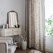 Geometric Pattern Single Panel Curtain