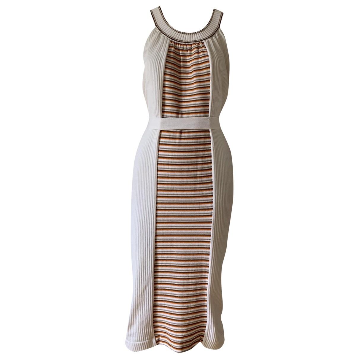Yves Saint Laurent \N Kleid in  Weiss Baumwolle