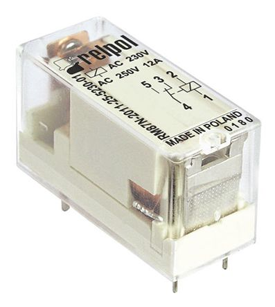 Relpol , 230V ac Coil Non-Latching Relay SPDT, 12A Switching Current PCB Mount Single Pole