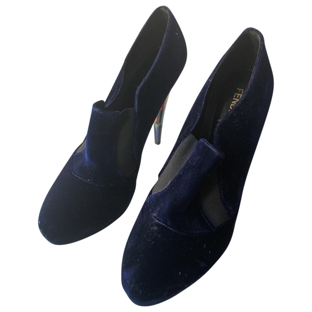 Fendi - Boots   pour femme en velours - bleu