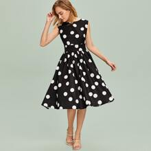 Zipper Back Polka Dot Flare Dress