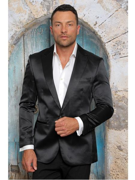 Mens Shiny Flashy Satin Solid Blazer ~ Sport Coat Black Available
