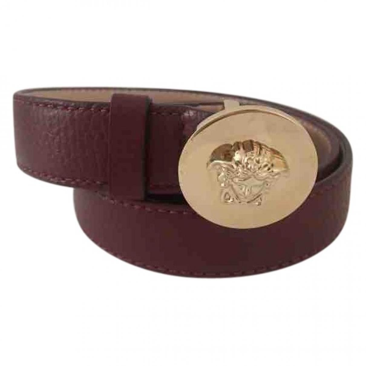 Versace \N Guertel in  Bordeauxrot Leder
