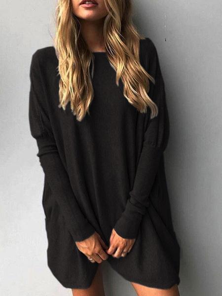 Milanoo Oversized Women Sweater Batwing Long Sleeve Pullover Sweater