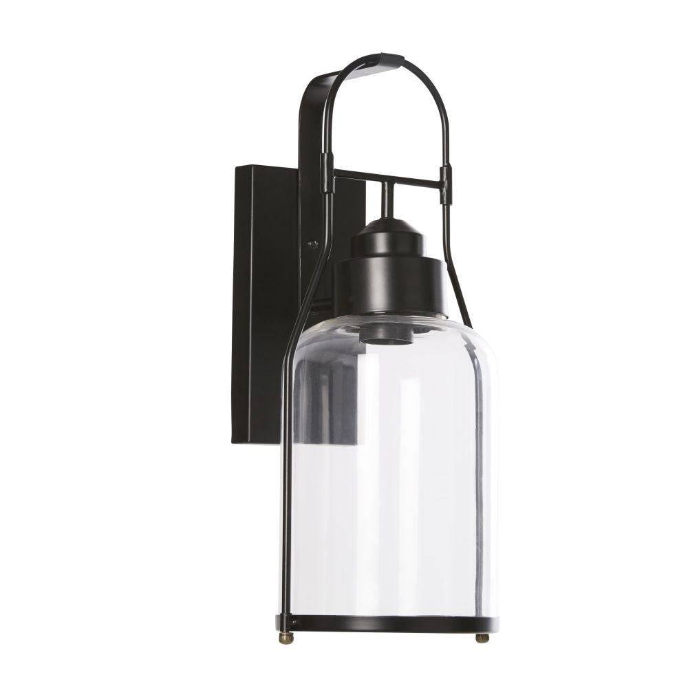 Wandleuchte aus mattschwarzem Metall mit Lampenschirm aus Glas