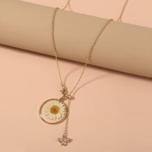 1pc Bee & Flower Pendant Necklace