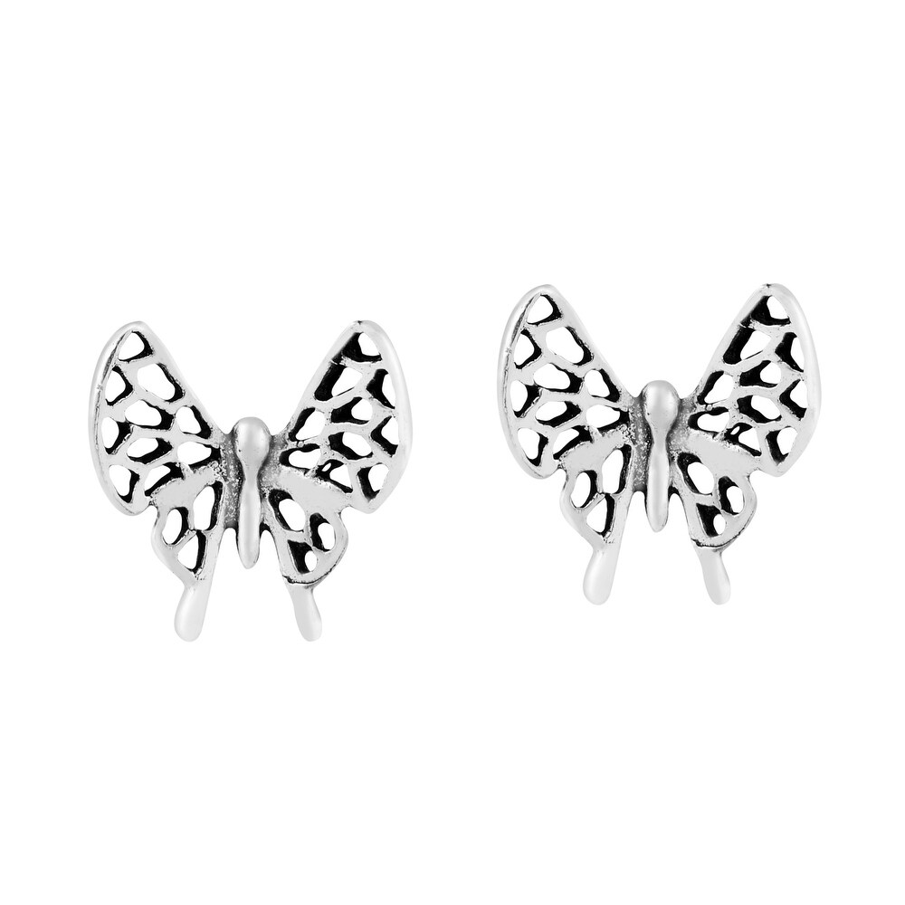 Handmade Wild and Magical Detailed Petite Butterfly Sterling Silver Stud Earrings (Thailand) (White)