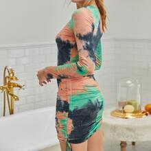 Drawstring Front Tie Dye Dress